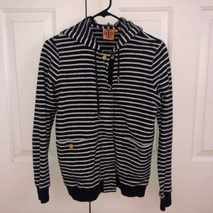 Tory Burch Striped Zip up Jacket
